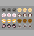 collection of cat foot paw symbols of domestic vector image