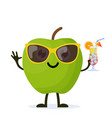 cute and funny apple character vector image vector image