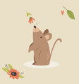 cute mouse scenting flower funny character design vector image vector image