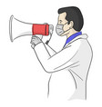 doctor yelling with megaphone through medical vector image vector image