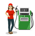 female gas station worker holding petrol pump vector image