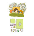girl and cats sleep in bed good night sweet vector image vector image