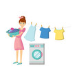 girl engaged in washing clothes cleaning vector image vector image