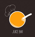 glass of juice and chef hat vector image vector image