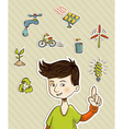 Go green teenager shows eco friendly icons vector image