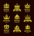golden royal quality crown logo templates vector image vector image