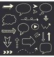 Hand drawn arrows speech bubble sketch set vector image vector image