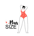 happy plus size woman wearing red swimming suit vector image