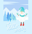 hello winter snowman character in snowy forest vector image