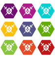 heraldic shield and swords icons set 9 vector image