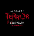 lettering terror and set white alphabet letters vector image vector image