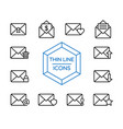 mail message line icon set for business marketing vector image