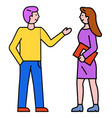 man and woman talking business conversation vector image