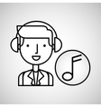 man hand drawing listening music vector image vector image