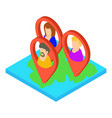 map icon isometric 3d style vector image