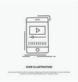 media music player video mobile icon line gray vector image