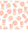 mini peach spring floral pattern with birds vector image vector image