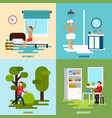 morning character icon set vector image vector image