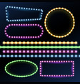 neon and led strips and diode light border frames vector image vector image