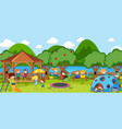 outdoor scene with many kids playing in park vector image vector image
