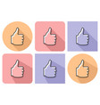 outlined icon of fist with raised thumb with vector image vector image