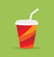 paper glass icon paper red cups with straws for vector image vector image