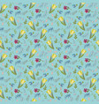 pattern with tulips and wild flowers vector image