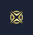 round x initial letter gold logo vector image