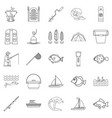 sea inhabitant icons set outline style vector image