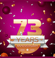 seventy three years anniversary celebration design vector image vector image