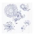 Sketchy doodles decorative floral outline vector image vector image