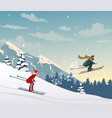 skiing in the mountains vector image vector image