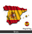 spain map and flag waving textile design dot vector image