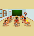 student in classroom template vector image vector image