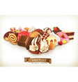 Sweet dessert with chocolate confectionery vector image vector image