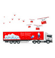 truck trailer with container car for carriage vector image