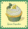 vintage card lemon cupcakes vector image vector image