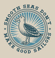vintage nautical emblem with a seagull vector image vector image