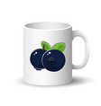 white mug with black blueberries vector image