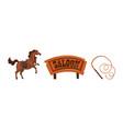 wild west symbols set wooden western saloon sign vector image vector image