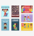 world book day in children library of bookstore vector image vector image