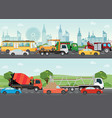 highways road with many different vehicles vector image