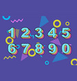 80 s retro folding numbers vintage vector image