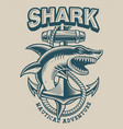 a shark with anchor in vintage style vector image