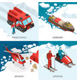arctic polar station isometric concept vector image