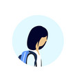 asian school girl profile avatar icon isolated vector image vector image