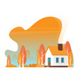autumn landscape family home vector image