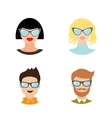 Avatar people icon set Cute cartoon character vector image