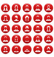 avatar user icon set vetor red vector image