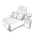 Bedroom modern interior sketch Furniture vector image vector image